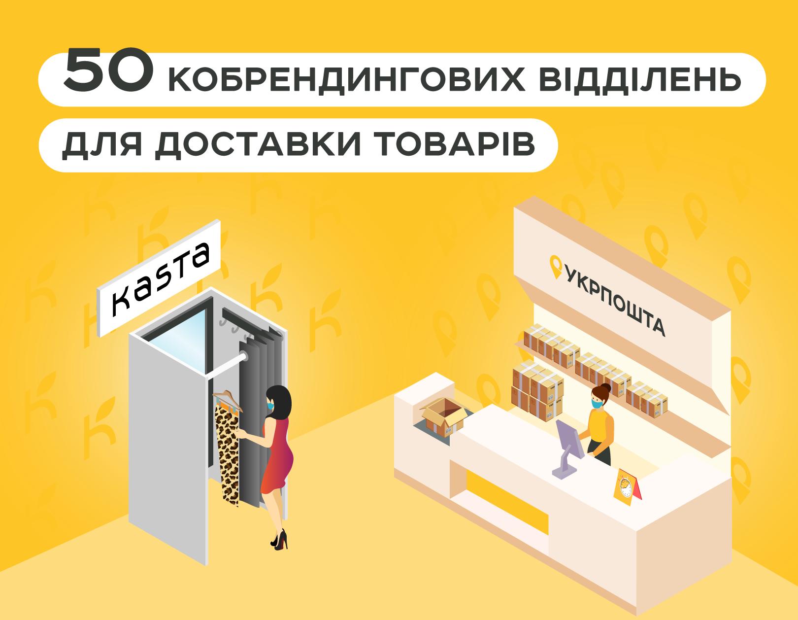 Укрпошта та Kasta відкривають 50 відділень для доставки товарів